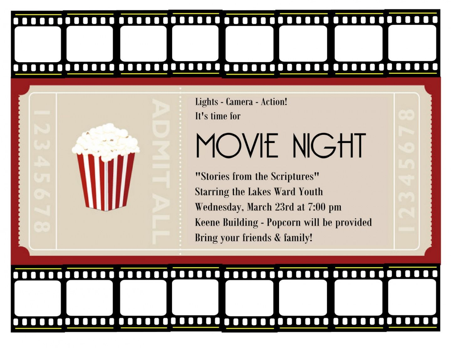 Costum Family Movie Night Flyer Template Doc Example