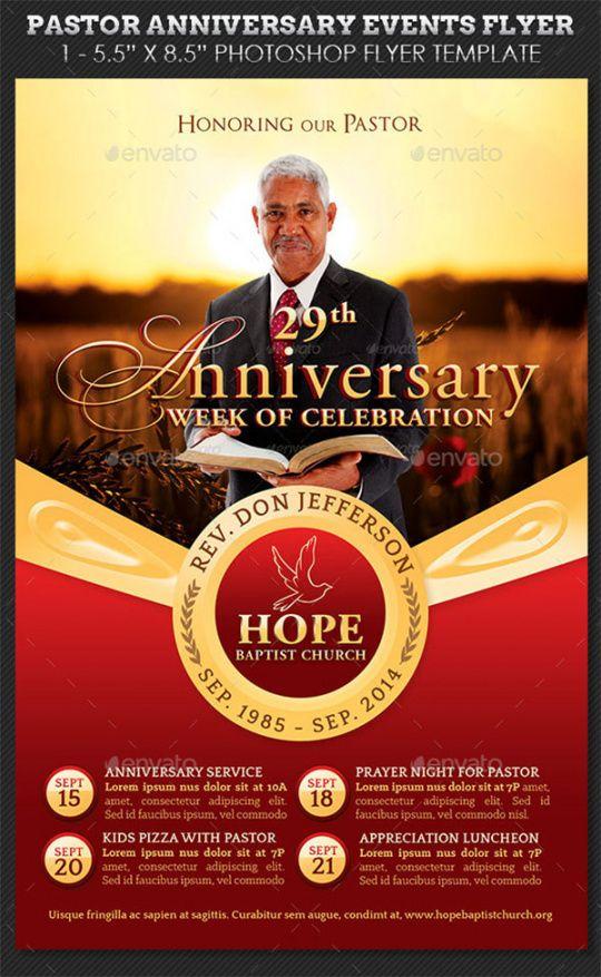 Costum Pastor Anniversary Flyer Template Excel