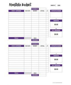 Editable Personal Biweekly Budget Template Pdf Sample