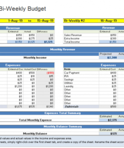 Editable Weekly Personal Budget Template Doc Example