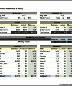Free Personal Biweekly Budget Template Doc Example