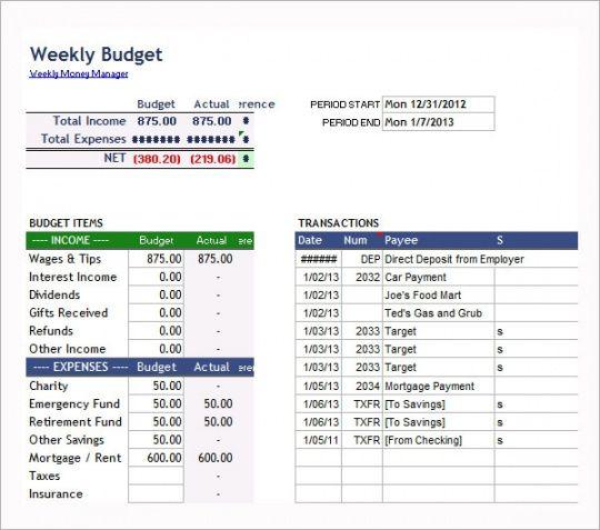 Personal Biweekly Budget Template Word