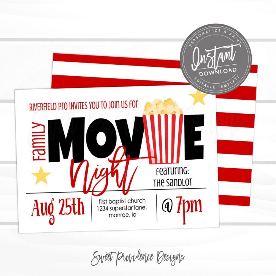 Professional Family Movie Night Flyer Template Word Sample