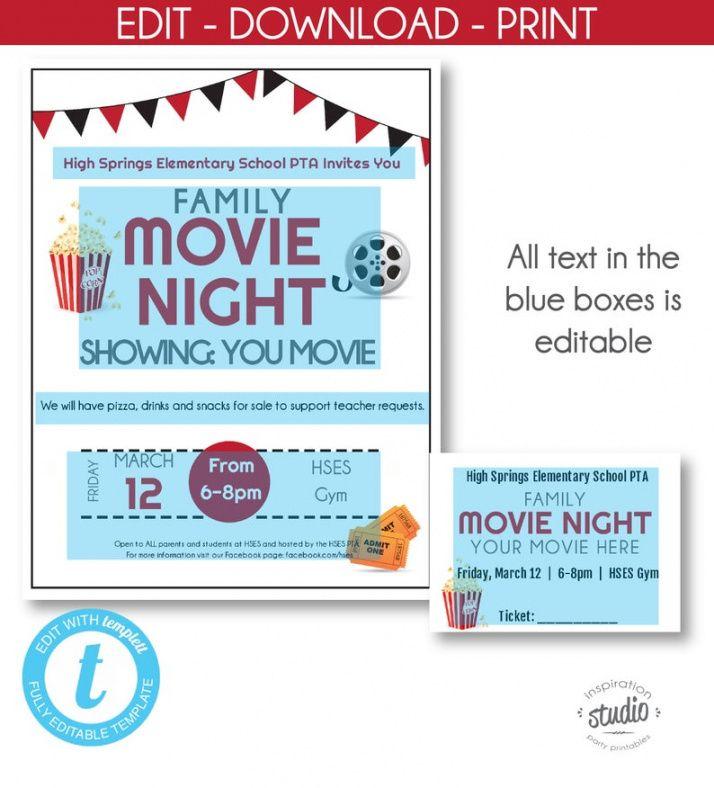 School Movie Night Flyer Template Excel Sample