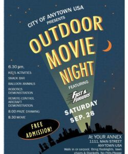 Summer Movie Night Flyer Template Word Example