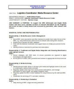 10 logistics coordinator job description templates in pdf logistics manager job description template
