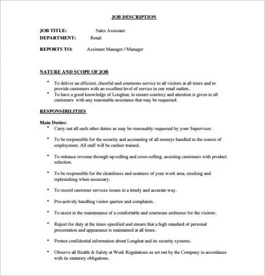 12 assistant manager job description templates  free retail store manager job description template doc