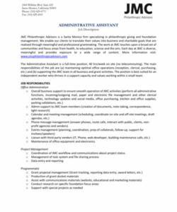 administrative assistant job description  gotilo administrative assistant job description template