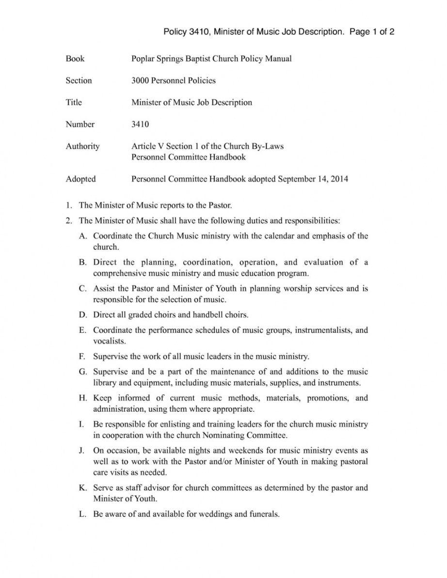 church policy 3410 minister of music job description worship leader job description template pdf