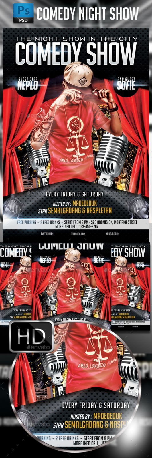 comedy show flyer template by madededuk  graphicriver comedy show flyer template pdf