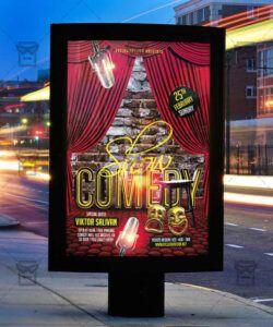 comedy show  premium flyer template  exclsiveflyer comedy show flyer template and sample