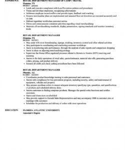 department supervisor resume  templatedose retail store manager job description template and sample