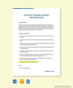 free assistant fashion designer job description  word virtual assistant job description template