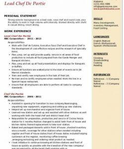 free chef de partie resume samples  qwikresume sous chef job description template pdf