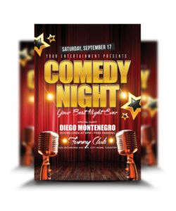 free comedy night flyer  graphicsflood comedy show flyer template and sample