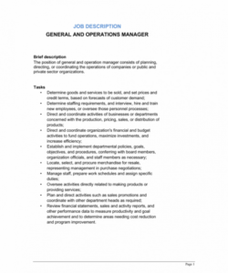 free general and operations manager job description template by generic job description template pdf