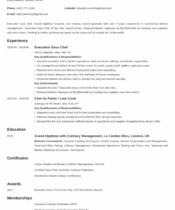 free sous chef resume sample guide & 20 examples sous chef job description template
