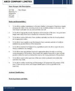 free storekeeper job description template blank job description template pdf