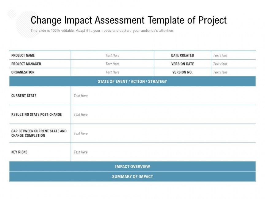 printable change impact assessment template of project  powerpoint software change impact analysis template example