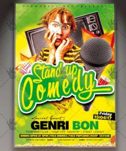 stand up comedy show  premium flyer psd template  psdmarket comedy show flyer template