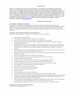warehouse supervisor job description example  the warehouse supervisor job description template pdf
