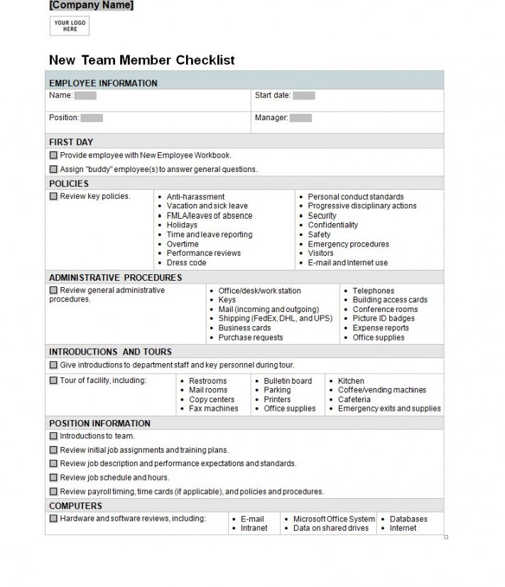 editable new employee orientation checklist ~ template sample orientation checklist template doc