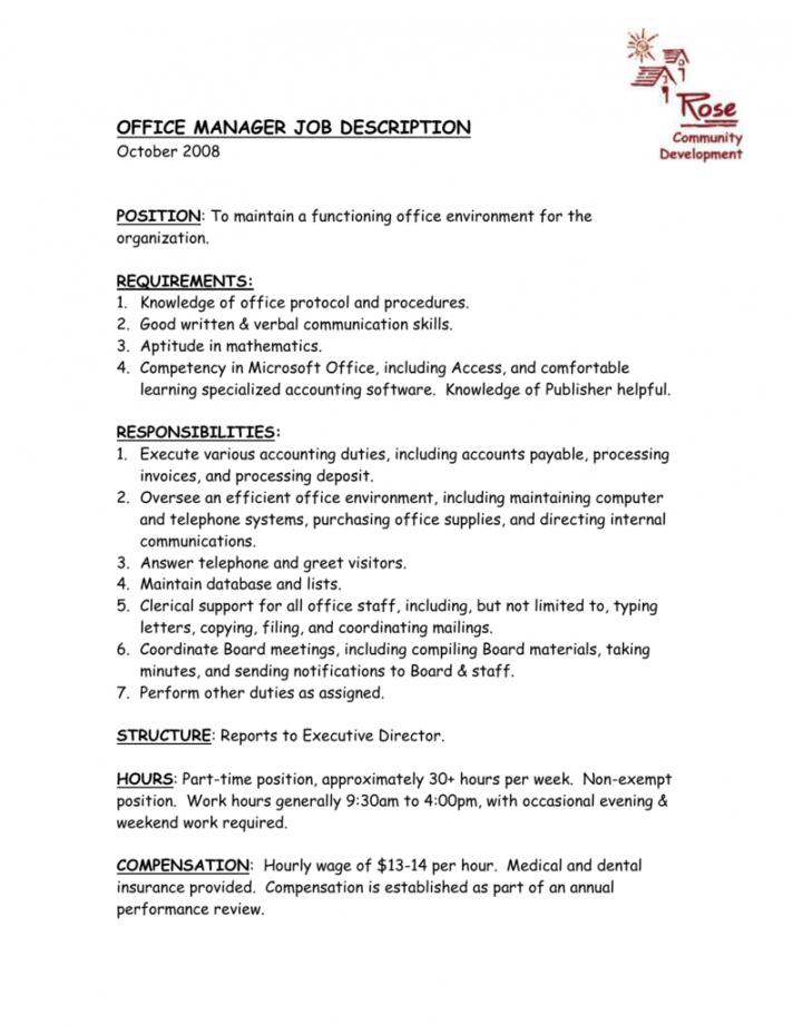 executive office manager job description  resume template executive director job description template pdf
