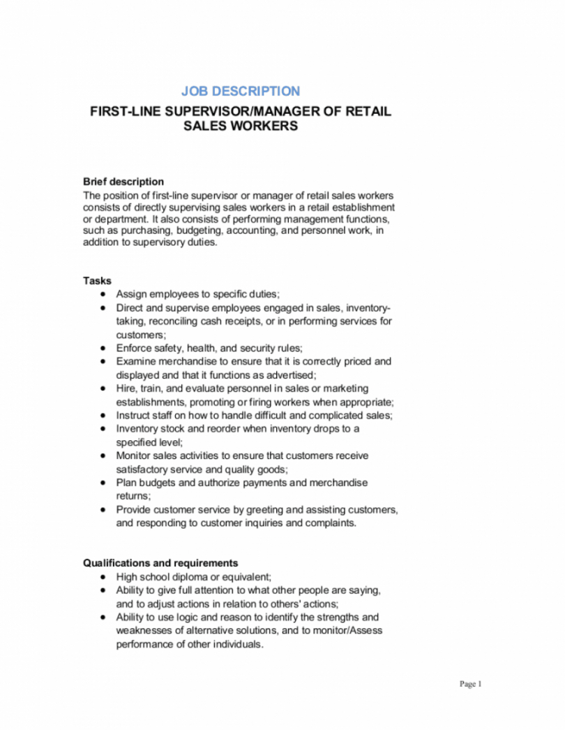 firstline supervisor or manager of retail sales workers retail manager job description template
