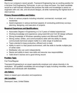 free civil engineering technician job description printable pdf ideal job description template pdf