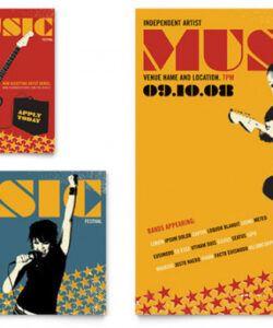 free live music festival event flyer & ad template design music school flyer template pdf