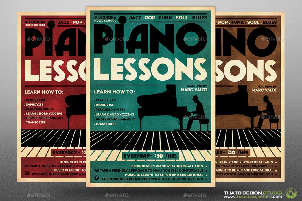 piano lessons flyer template by lou606  graphicriver music school flyer template