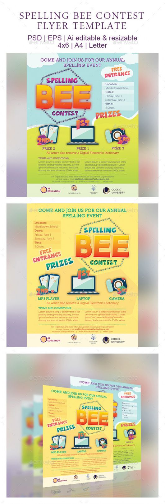 spelling bee contest flyer template by emty  graphicriver sales contest flyer template pdf